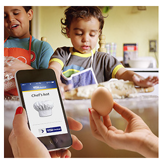 Visa Checkout Mobile Phone child with egg