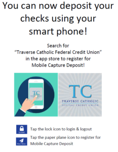 You can now deposit your checks using smart phone!