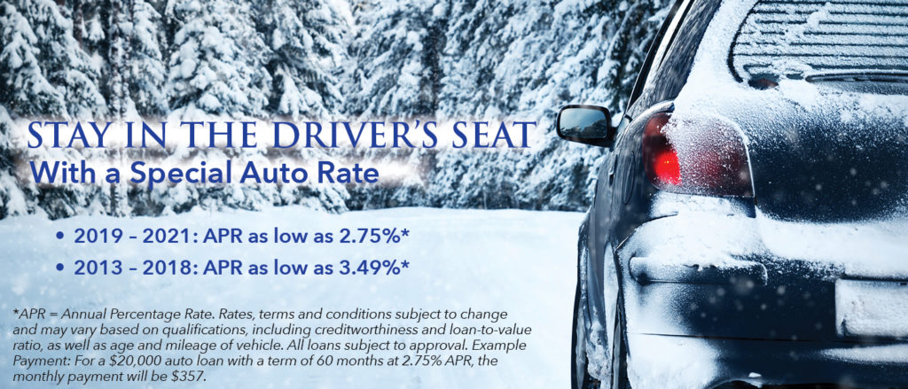 car in snow with auto rates