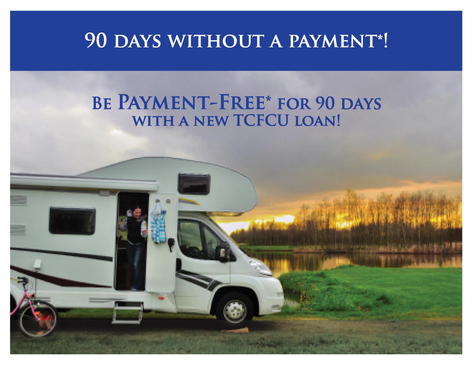woman at camper, 90 day no pay promo